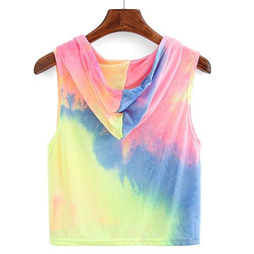 Heiß!!! LSAltd Frauen Mode Print Hoodie Sweatshirt Patchwork Langarmshirts Farbverlauf Kapuze Pullover Tops Langarm Bluse Regenbogen Tops Jumper