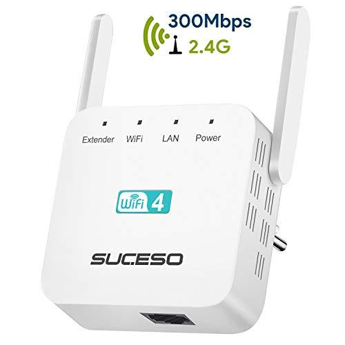 SUCESO Ripetitore Wifi Wireless Ripetitore WiFi Extender 300Mbps/2.4GHz, Porta LAN,Wireless Dual Antenna WiFi Amplificatore di Segnale, Amplificatore wifi compatibile con modem fibra e ADSL