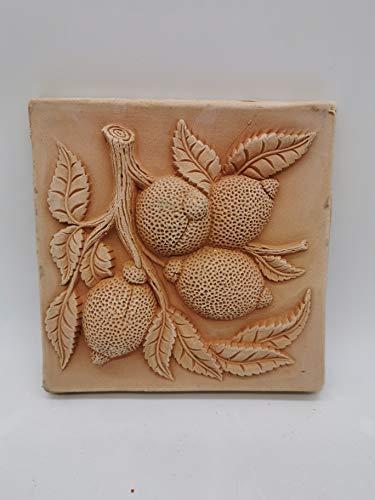 Deko Wandbilder -Früchte- Birnen, Limonen UVM. aus italienischem Terrakotta mit verschiedenen Motiven -frostfest und witterungsbeständig- QUALITÄTSWARE schöne Dekoration für Garten