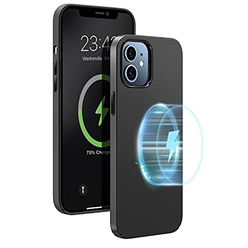 Enskko Magnetic Case for iPhone 12/12 Pro, Compatible with Magsafe Charger or Magnetic Wireless Charging, Ultra Thin Shockproof Matted Hard PC Back Cover 6.1'', Dark Gray