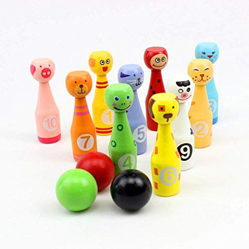 TOPCOMWW 10pcs/Lot Wooden Cartoon Bowling Children Puzzle Fun Interactive Toys Outdoor Sports Balls