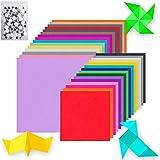 H-O Origami - Papel cuadrado de colores hecho a mano, 10 colores, con accesorios de papel colorido, ojo móvil, diámetro 8/10/12/15/20 mm, mixto 100 x 1
