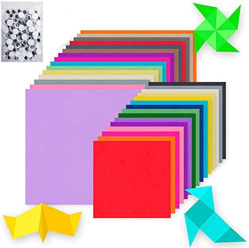 Origami Handarbeit, quadratisch, farbiges Papier in 10 Farben, mit Zubehör aus farbigem Papier, Durchmesser 8/10/12/15/20 mm, Mischung 100 x 1