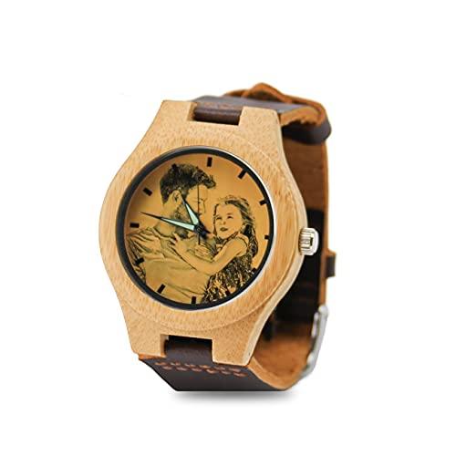 Reloj De Fotos Reloj De Pareja Reloj Personalizado con Imagen Reloj De Mujer Reloj De Bambú Aniversario Cumpleaños Día del Padre Mejor Regalo