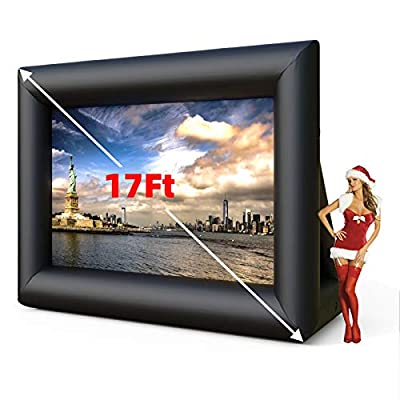 SUNCOO 15/17ft Inflatable Outdoor Movie Projector Screen, Front & Rear Projection Screen with Blower Storage Bag Strings Stakes for Backyard Movie Parties Pool Lawn Event, Inflatable Theater Screen