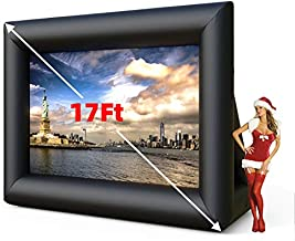 SUNCOO 17ft Inflatable Outdoor Movie Projector Screen,Front Projection Screen with Blower Strings Stakes & Storage Bag for Backyard Movie Parties Pool Lawn Event, Inflatable Movie Screen (17FT)