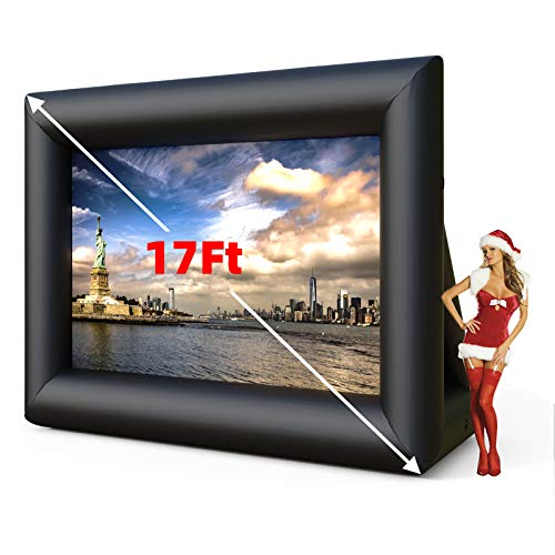 SUNCOO 17ft Outdoor Movie Projector Screen,Front/Rear Inflatable Projection Screen with Blower Strings Stakes & Storage Bag for Backyard Movie Parties Pool Lawn Event, Inflatable Movie Screen(17FT)