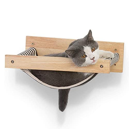 Xingying Kattenwand, baars, wandmontage, kattenrek, bed, hout, kattenhangmat, huisdier, rustig, ruimtebesparend, machinewasbaar voor katten, veiligheidsrek, eenvoudig te monteren