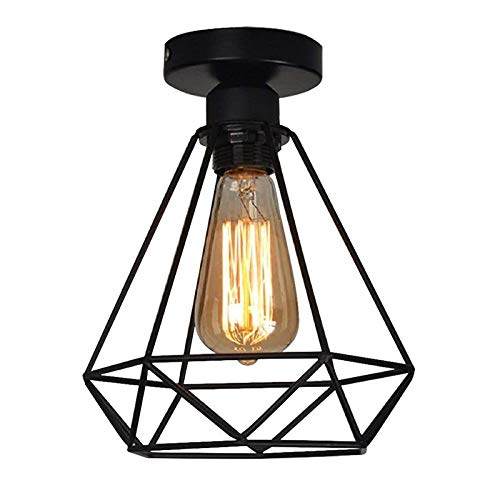Plafoniera Lampadario, Retro Vintage Lampada da Soffitto Industriale lampadario in metallo nero gabbia ferro con attacco E26/E27 (nero), per corridoio, portico, camera da letto, ecc