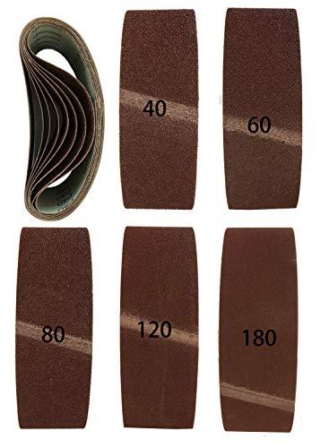 Bandas de lija para lijadora de banda (20 unidades, tejido mixto, 75 x 533 mm, 2 de 40, 60, 80, 120 y 180