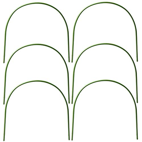 Lot de 6 arceaux de serre en acier inoxydable avec revêtement en plastique - Support pour plantes - Piquets de jardin pour tissu de jardin