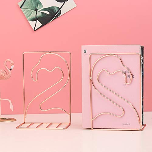 Winterworm Metal Bookends Book Ends Heavy Duty Modern Decorative for Bedroom Library Office School Book Display Desktop Organizer Gift(Flamingo Rose Gold)