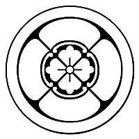 家紋シール「丸に四方木瓜」子供用 直径3.5cm 黒地の着物用 七五三 お宮参り6枚入り 貼付け家紋 yu KOM197