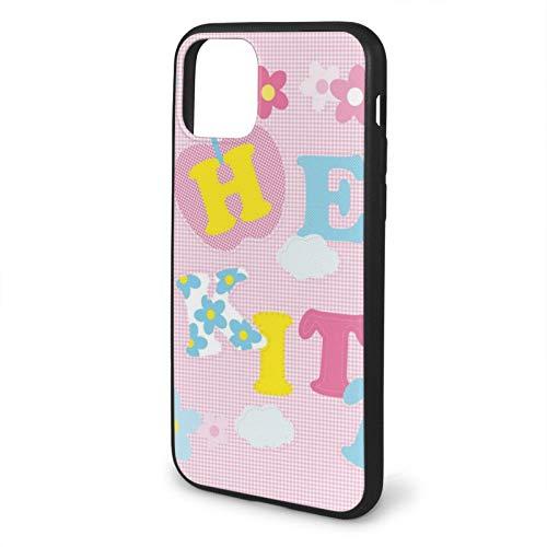 VOROY Carcasa para iPhone 11 Pro Max-6.5, diseño de gato anime rosa Hello Kitty A-P-P-L-E