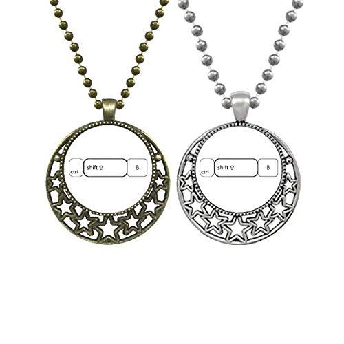Keyboard-Symbol Ctrl Shift B Liebhaber Halsketten Anhänger Retro Mond Sterne Schmuck