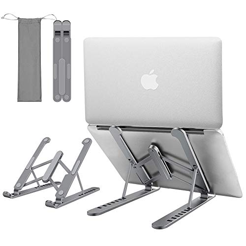 """KCZAZY Laptop Stand, Aluminum Tablet Bracket Foldable and Adjustable Computer Notebook Stand PC Ergonomic Holder Riser Portable Compatible with MacBook Air Pro, HP, Dell, Lenovo 10-15.6""""(Grey)"""