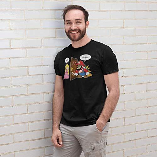 Okiwoki T-Shirt Noir Super Mario parodique Bowser et Princesse Peach : C'est l'plombier ! (Parodie Super Mario)