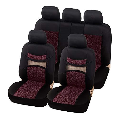 AUTOYOUTH Red print Black Car Seat Covers Full Set Car Seat Protectors Car Seat Accessories 9PCS Fit 40/60 Split, 40/20/40 Split and 50/50 Split