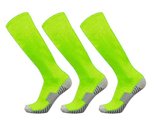 Soccer Football Socks 3 Pairs Team Sport Athletic Knee High Breathable Compression Socks for Adult Youth Kids Boys (Neon Green 3 Pairs, l)