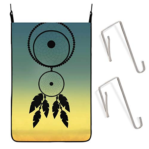 ACHOGI Dream-Catcher Hanging Laundry Hamper Bag with Free Adjustable Stainless Steel Door 2 Pcs Suction Cup Hooks, Best Choice for Holding Dirty Clothes and Saving Space