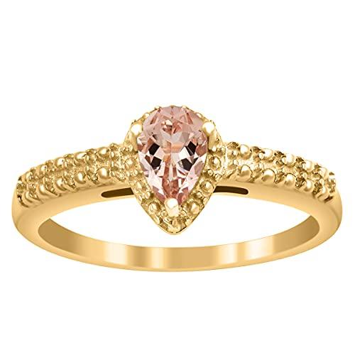 Shine Jewel Anillo de Promesa de Mujer de Plata 925 con Piedras Preciosas de morganita de Corte de Pera de 6X4 MM (Plata chapada en Oro Amarillo, 14)