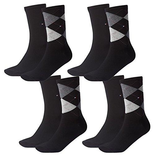 Tommy Hilfiger Damen Socken Check Casual Socken 4er Pack, Größe:39-42, Farbe:Black (200)
