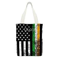 Irish American Flag 大再利用可能なキャンバストートバッグショルダーバッグ旅行女性用ハンドバッグ
