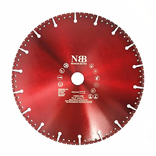 NBB Disco de corte multiusos de diamante, hoja de rescate, alta eficiencia, corte en granito, concreto reforzado, fibra de vidrio, varilla, plástico,árbol 22.23 mm,para Amoladora Angular(Dia.230mm, 1)