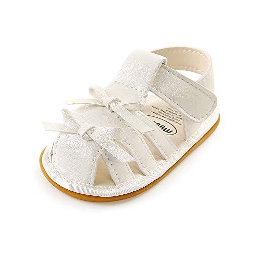 LACOFIA Baby Mädchen Sandalen Kleinkind rutschfest Gummisohle Bowknot Sommer Schuhe Weiß 6-12 Monate