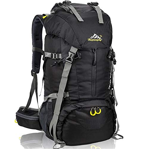 Hiking Backpack 50L Mountain Camping Trekking Daypack Gear with Rain Cover Black