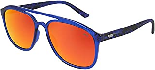 Puma Men's PU0163S PU0163S-003 58 Aviator Sunglasses, Blue, 58 mm