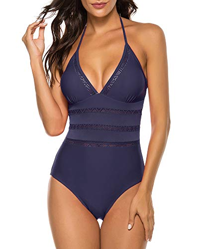 Urchics Womens One Piece Halter Monokini Mesh Plunge Swimsuits Bathing Suit Navy S
