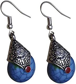 Antique Oxidized Tibetan German Silver Drop Jhumka Earrings in Different Colors