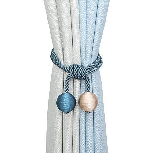 2 alzapaños de cortina, simple mano para tejer cuerda colgante con doble bola para decoración en casa o oficina (beige + azul)