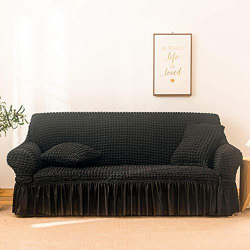 Funda de sofá elástica Estampada, Antideslizante, Resistente al Desgaste, fácil de Limpiar, protección de sofá-Negro_1-Plazas 65-115cm
