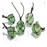 KUYIN Decoración Natural Esmeralda Natural Colgante de Cristal Curación DT Gemstone Wand Reiki Green Fluorite Wrap Wrap Braid Necklace Yoga Macrame para Hombres Mujeres