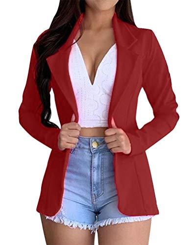ORANDESIGNE Femme Blazer Élégant Manches Longues Slim Fit OL Bureau Affaires Veste De Costume Devant Ouvert Manteau Cardigan A Rouge 44