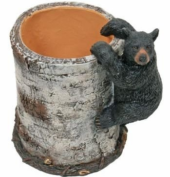 Black Bear Cub Climbing a Birch Pen Pencil Holder Cup, 4.25-inch