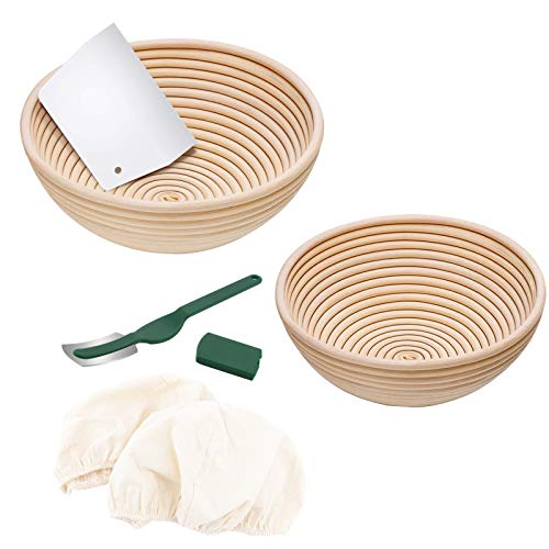 Cute Paws Sturdy Natural Rattan Banneton, 9 inch Round Bread Proofing Basket Kit with Bread Lame +Dough Scraper+ Linen Liner Cloth for Novice & Professional Home Bakers Artisan,2 pcs