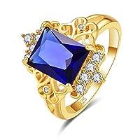 YAZILIND S925スターリングシルバーリングプリンセス長方形カットキュービックジルコニア婚約指輪女性女の子結婚披露宴ジュエリーブルー米国サイズ:7