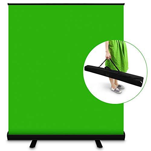 Green Screen, SEDGEWIN Tragbarer Grüner Chromakey Hintergründe für Fotohintergrund Videostudio, Faltenresistenter Greenscreen-Hintergrund mit Hochziehbarer Sicherheits-Aluminiumbasis (110cm breite)