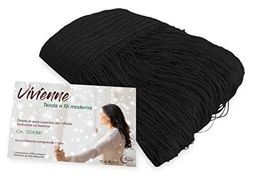 Tex family Cortina de hilos Vivienne para puerta, 150 x 300 cm, color negro liso