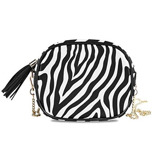 QMIN - Bolso bandolera con diseño de cebra, diseño de piel de cebra, bolso de mano pequeño, piel sintética, con correa de cadena, borlas para mujeres y niñas