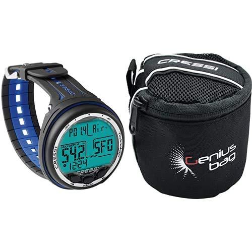 Cressi Giotto - Ordenador de buceo Dual-Mix, negro y azul + Bolsa Porta Regulador/Consola de Buceo