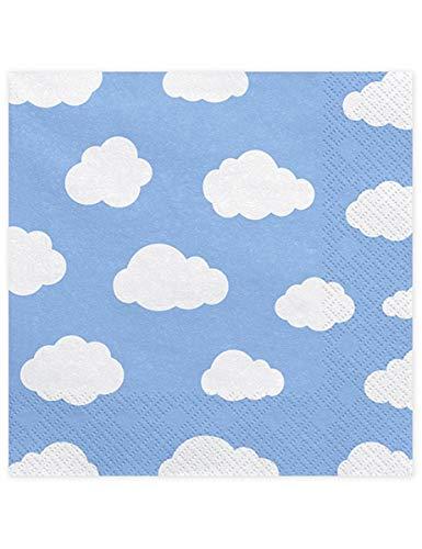 Servietten hellblau Wolken, 20 Stk., 33x33cm, little Plane, SP33-14