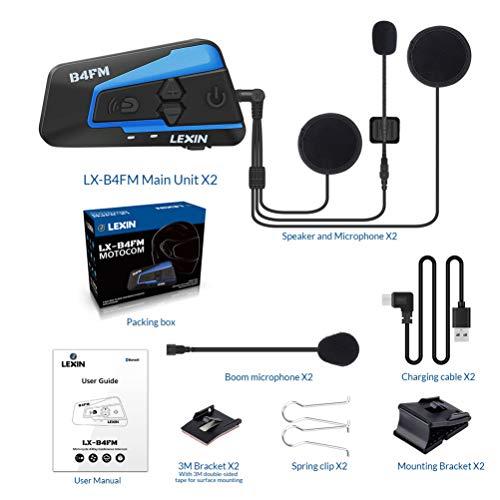 LEXIN B4FM 2X Motorrad Bluetooth Headset, Helm Intercom Geräuschreduzierung, Kommunikationssystem für Motorräder, Freisprechanlage bei Motorradfahren und Skifahren - 9