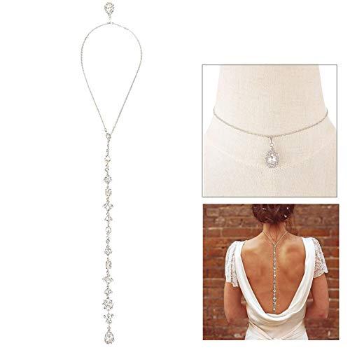 Longble - Collar de cristal para la parte trasera de la novia, collar para la espalda para mujer, exquisita cadena en Y, joya para novia, collar de aleación para la parte trasera