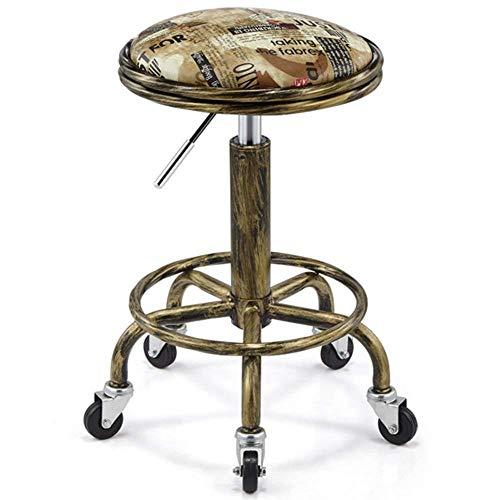 StoolsFashion eenvoudige baardhek Beauty kapperskruk optillen bar KTV kleine kruk werkstoel (kleur: nationale vlagmaat: 50-64 cm) 50-64cm Engels cirkel.