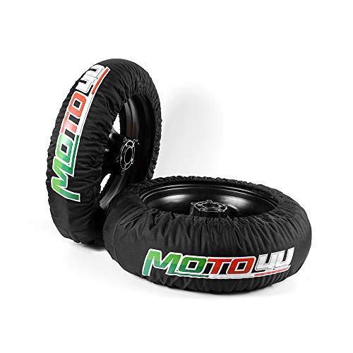 MOTO4Uタイヤウォーマータイヤウォーマーセットレーシングオートバイスーパーバイクタイヤヒーターカバーフロント120リア180/190/200 110V&USAプラグ付き シングル温度 黒い