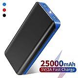 Batterie Externe 25000mAh Power Bank Ultra-haute Capacité Portable Chargeur avec 2 Porte USB Ultra Lumineux LED Torche Compatible avec iPhone, iPad Samsung Galaxy et Autres Smartphones